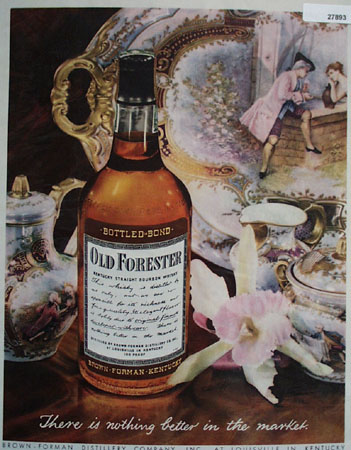 Old Forrester Whiskey And Victorian Dishes Ad 1944