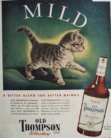 Old Thompson Whiskey Gray Striped Kitten Ad 1945