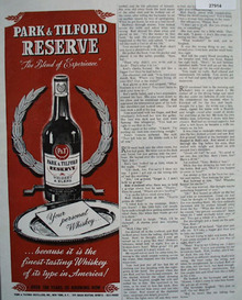 Park And Tilford Whiskey Personal Whiskey Ad 1944
