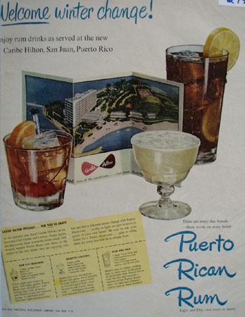 Puerto Rican Rum Welcome Winter Change Ad 1950
