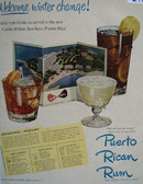 Puerto Rican Rum Welcome Winter Change Ad 1950