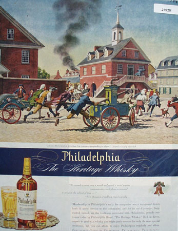 Philadelphia Whisky Volunteer Fire Co Ad 1945