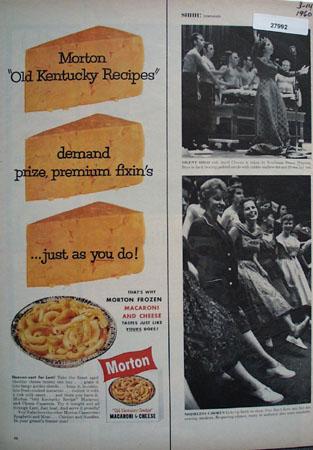 Morton Macaroni Cheese Kentucky Recipes Ad 1960