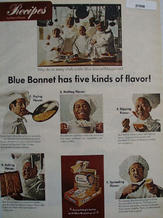 Blue Bonnett Margarine Five Kinds of Flavor Ad 1968