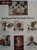 Blue Bonnett Margarine Five Kinds of Flavor Ad 1968