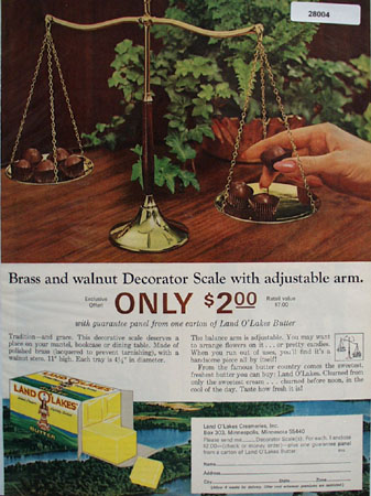 Land O Lakes Butter And Decorator Scale Ad 1965