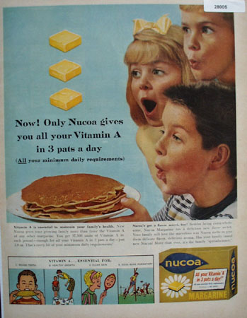 Nucoa Margarine 3 Pats A Day Ad 1960