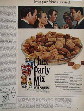Chex Party Mix With Planters Peanuts Ad 1968