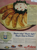 Crisco Fried Banana Crescents Ad 1951