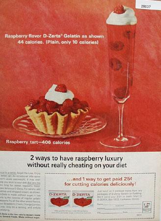D Zerta Raspberry Gelatin Dessert Ad 1964