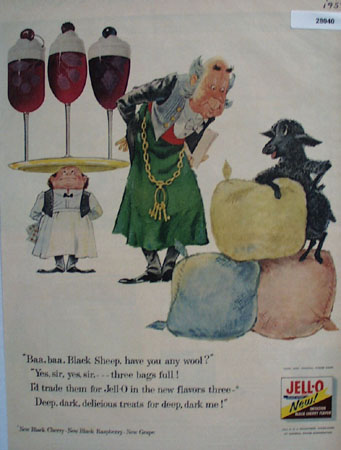 Jell O Black Cherry Black Sheep Ad 1957