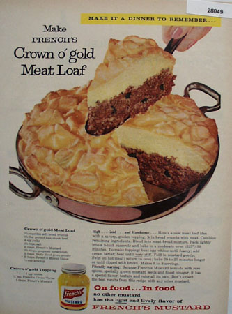 French Mustard And Crown O Gold Meat Loaf Ad 1958