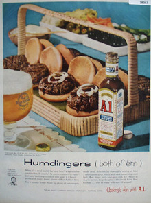 A 1 Sauce And Pabst Blue Ribbon Beer Humdingers Ad 1957