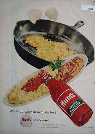 Hunts Catsup And Scrambled Eggs Ad 1958