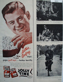 Jolly Time Pop Corn And Arthur Godfrey Ad 1956