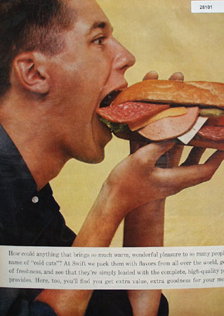 Swifts Premium Couple Eating Sub Sandwich Ad 1960