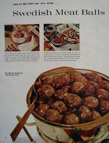 Swedish Meat Balls and Brown Beans Recipes 1961