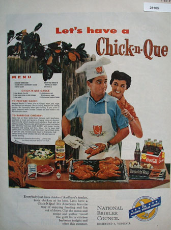 National Broiler Council Lets Have Chick N Que Ad 1958