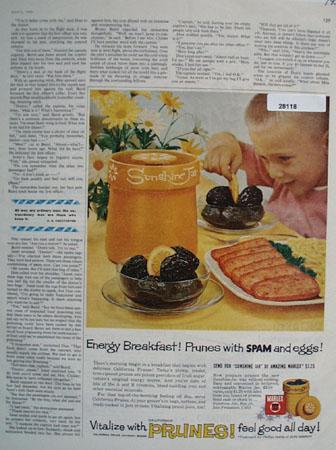 Prunes Eggs Spam Energy Breakfast Ad 1959
