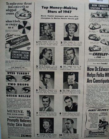 Top Money Movie Stars of 1947 Ad