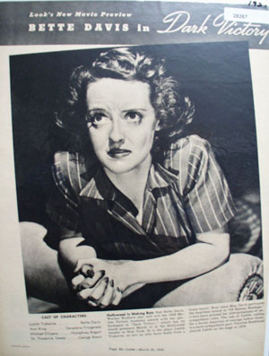 Betty Davis Actress in Dark Victory Ad 1939