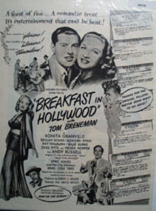Breakfast In Hollywood Movie Preview Ad 1946