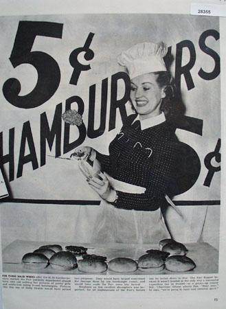 Betty Grable 5 cent Hamburger NY Worlds Fair Article 1939