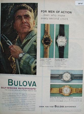 Bulova 1959 Color Ad shows man wearing Bulova Sea Clipper