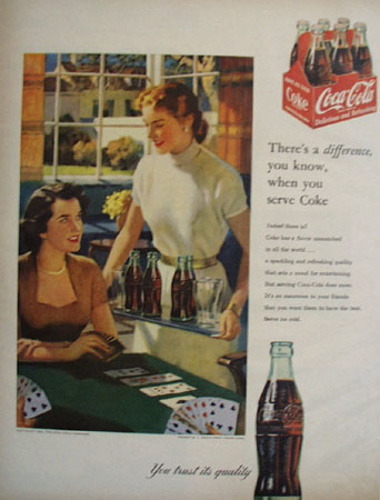 Coca Cola Theres A Difference Serve Coke Ad 1953