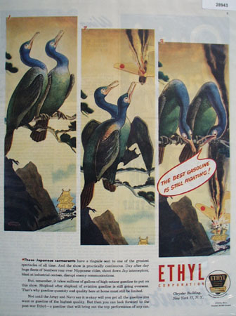 l945 Ethyl Ad showing a pair of Japanese Cormorants