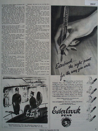 Estetrbrook Pen Co Ad September 23, 1944