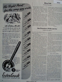 The Esterbrook Pen Co Ad April 31, 1945