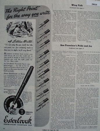 The Esterbrook Pen Co Ad April 31, 1945