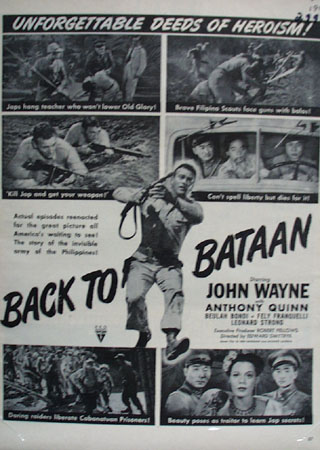 Back To Bataan With John Wayne Movie Ad 1945