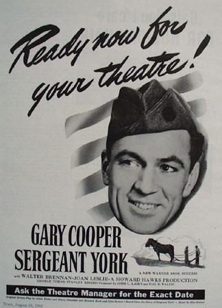 Sergeant York With Gary Cooper Move Ad 1941