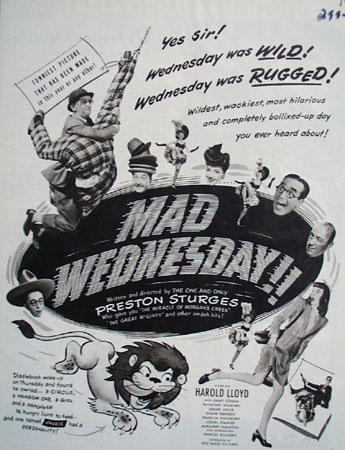Mad Wednesday With Harold Lloyd Movie Ad 1950