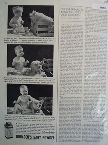 Johnsons Baby Powder Baby Talks to Pig Ad  1938