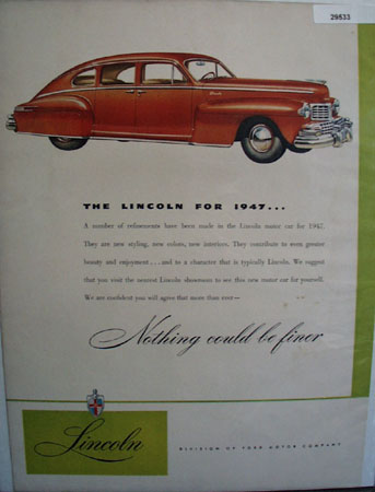 Lincoln Car 1947 Ad