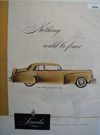 Lincoln Continental Coupe 1947 Ad