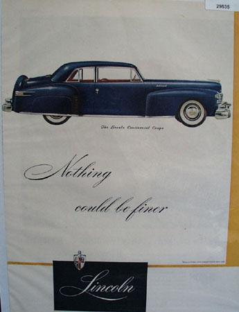 Lincoln Car 1947 Ad