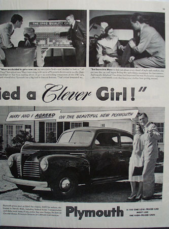 Plymouth Car 1940 Ad