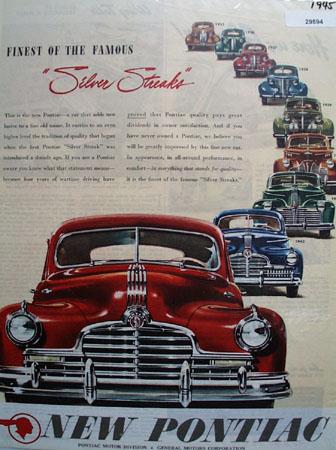 Pontiac Motor Division G M 1945 Ad.