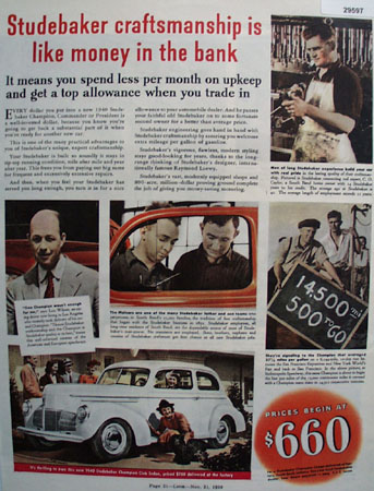 Studebaker Car 1939 Ad