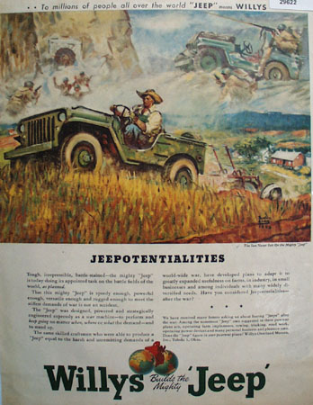 Willys Builds the Mighty Jeep 1945 Ad
