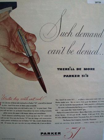 Parker Pen Co. 1945 Ad
