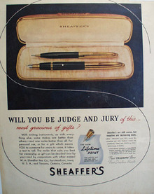 Sheaffers Pen 1945 Ad