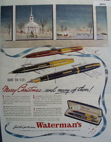 Watermans Pen  1945 Ad