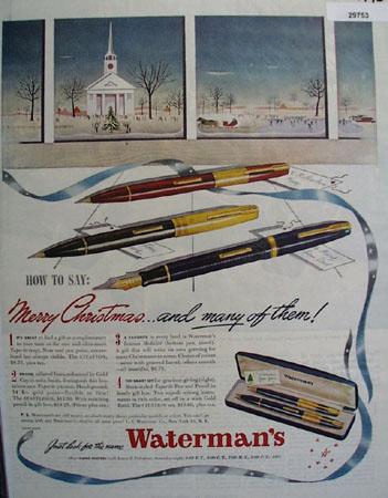 Watermans Pen  1945 Ad