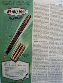 Wearever Pen 1946 Ad