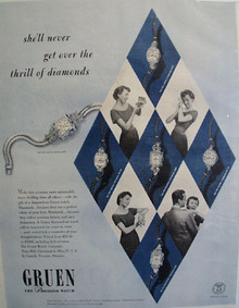 Diamond set Green Watch 1949 Ad